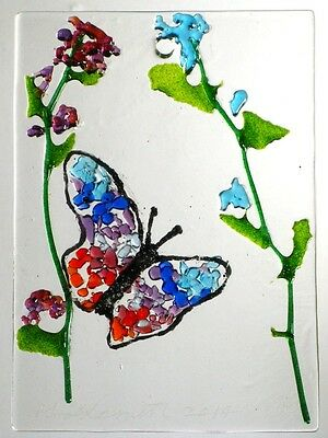 "BUTTERFLY WINDOW,WALL HANGING Kiln Fused Stained Glass 2.5x3.5"" ACEO Sun Catcher"