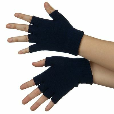 Adult's Men's Ladies Black Fingerless Thermal Magic Warm Stretch Gloves 3,6,12
