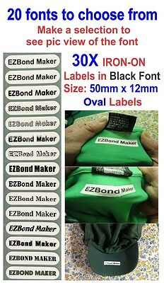 30x Oval Label, Iron-On Name Labels Tags Printed,