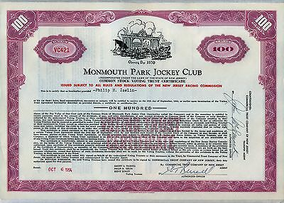 Monmouth Park Jockey Club Stock Certificate New Jersey