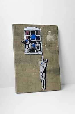 "Banksy - Naked Man Stretched Canvas Print 16""x20"". BONUS FREE BANKSY WALL DECAL!"