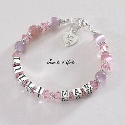 Girls Real Silver Name Bracelet. Personalised Girls Bracelet with Engraved Tag