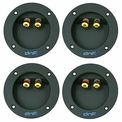 (4 Pack) Speaker Box Round Terminal Cup Connector Subwoofer Enclosure Wire