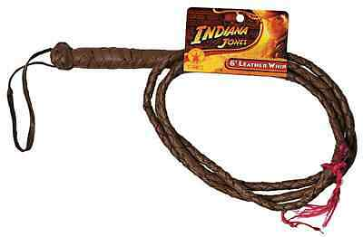 Indiana Jones 6' Leather Whip Brown 6 Foot Toy Halloween Costume Accessory