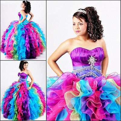 2017 Multi-Color Ball Gown Quinceanera Dresses Prom Pageant Formal Evening Dress