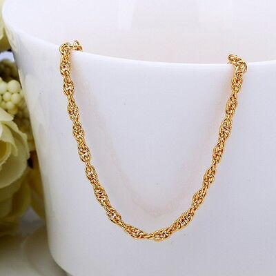 New Women Jewelry 18k GP Yellow Gold Plated  Charm Chain Link Necklace 18 Inch