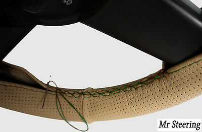 For Vw Lupo 98-05 Beige Perforated Leather Steering Wheel Cover Green Stitch