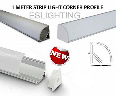 1M 3528 5050 5630 7020 Corner Strip Light Led Profile Frosted Cabinet Kitchen