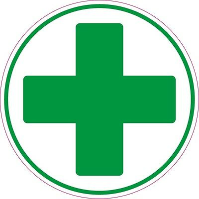 FIRST AID CROSS  Circle health and safety signs sticker green cross 50x50mm X6