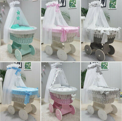 Complete Wicker Moses Basket + Chassis Big Wheels Bedding Drape 24 Colours