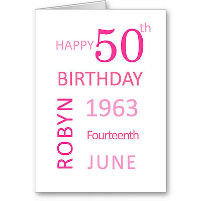 Unique Typographic Personalised 50th Birthday Date Card / Gift. Next Day Post