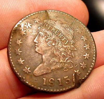1813 Large Cent ✪ Sharp Xf Extra Fine Detail ✪ 1C Classic Head Damage ◢Trusted◣