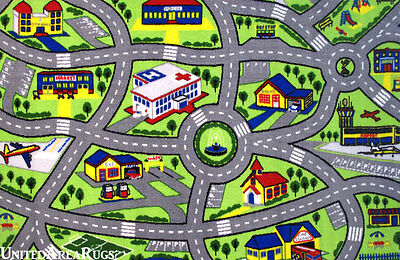 "4'3"" x 6'6""  Area Rug  Kids  Play  Road  Map Street Fun City  Driving Time  5x7"