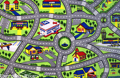 """4'3""""x6'6""""  Area Rug  Kid's  Play  Road  Map Street Fun City  Driving Time  5x7"""
