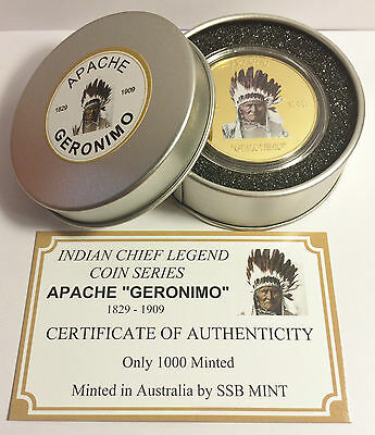 "NEW Indian Chief Series ""GERONIMO"" 1 Oz Coin C.O.A. Finished in 999 24k Gold"