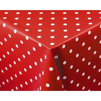 Crimson Polka Dot PVC Table Cloth Cover Reusable 1370x1780mm Rectangle Catering