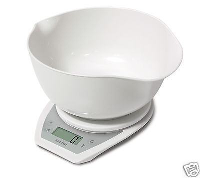 Salter 1024 Electronic Aquatronic Scale + Dual Pour mixing bowl White or Silver