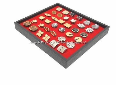 1 New Cufflinks Storage Display Red Stackable Tray