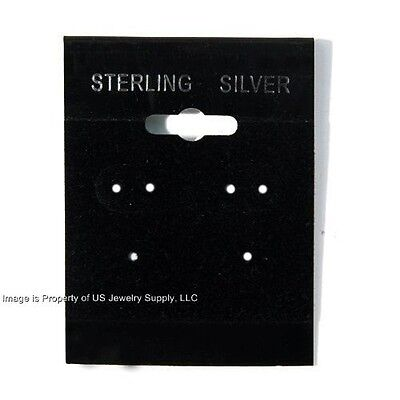 """100 Sterling Silver Black Hanging Earring Cards Jewelry Display 2""""H x 1 1/2"""""""