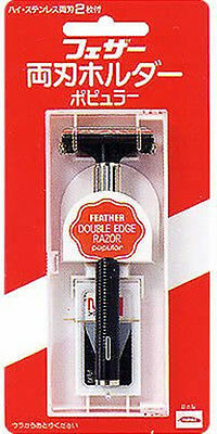 FEATHER Double-edged Razor Holder POPULAR with 2 Spare Blade From Japan