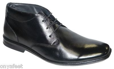 Mens Hush Puppies Chambers Black Formal/dress/work/leather Shoes -Wide Boots