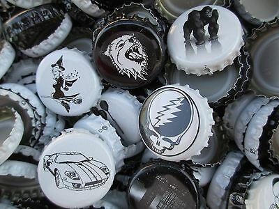 "300 Black and White home brew Beer Bottle Caps "" Variety "" (No Dents). Free S&H"