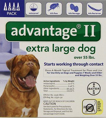 Bayer Advantage II, Extra Large Dogs, Over 55-Pound, 4-Month , New, Free Shippin