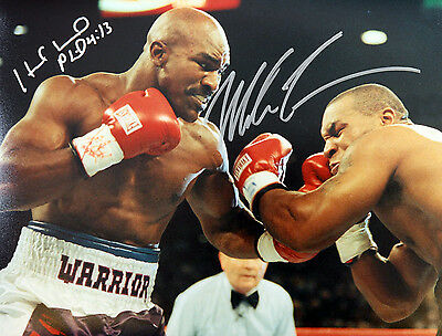Mike Tyson And Evander Holyfield Duel Signed 12x16 Boxing Photograph : C