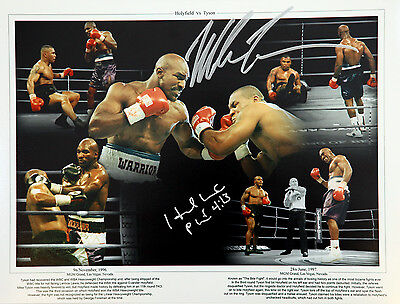 Mike Tyson And Evander Holyfield Duel Signed 12x16 Boxing Montage