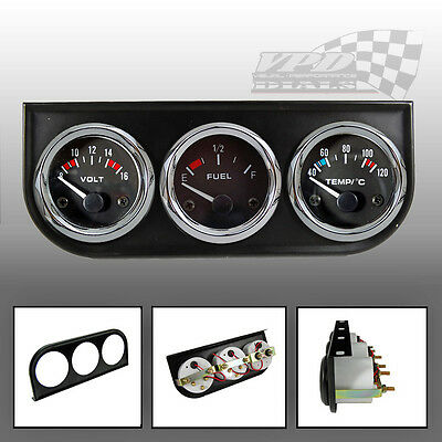 "Oil / Water/ Fuel / Volt gauge 52mm / 2"" universal triple pack with dash mount"