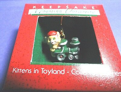 "Hallmark ""Kittens in Toyland "" Train Miniature Ornament Dated 1988"
