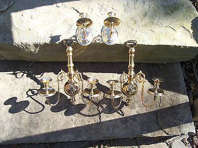 Vintage Solid Brass Tapered Candle sconces 4 Pieces- Restored-