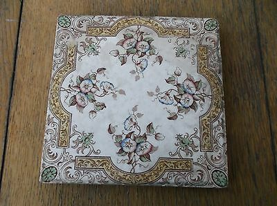 antique VICTORIAN AESTHETIC BROWN FLORAL ANTIQUE TILE fresh estate