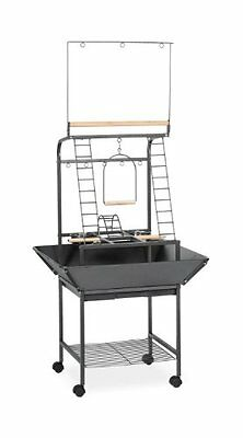 Prevue Pet Products Small Parrot Playstand 3181 Black Hammertone, 17.625-Inch by
