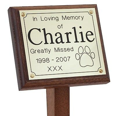 Solid Mahogany Oak Memorial Stake Grave Marker 5x5 & Engraved Plaque Cat Dog Pet