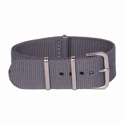 Vintage Nato Solid Grey 16 18mm 20mm 22mm 24mm Nylon Watch Strap Wristwatch Band