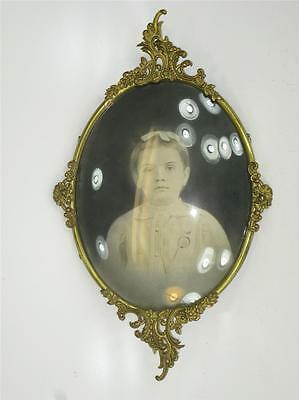 Large Antique Convex Bubble Glass Ornate Gold Plated Picture Frame Victorian