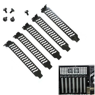 5PC PCI Bracket Slot Cover Dust Filter Black Steel Blank Blanking Plate Scr NM