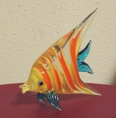 Fitz and Floyd Glass Menagerie Rare Yellow Angel Fish w/ original red oval box