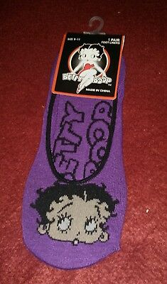 Betty Boop-1 pair-purple and black foot liners-socks-new-size 9-11-free ship