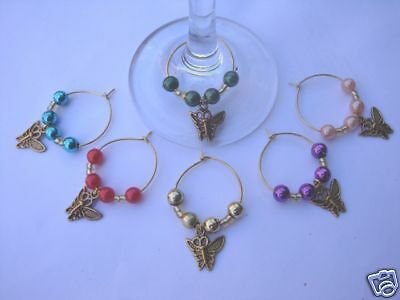 WINE GLASS RINGS coloured beads & Butterfly Charms