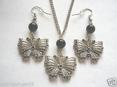 Victorian Gothic butterfly & black glass bead pendant necklace & earrings set