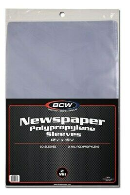 Pack of 50 BCW 12 x 19 Newspaper Acid Free 2-Mil Clear Poly Sleeves 12x19