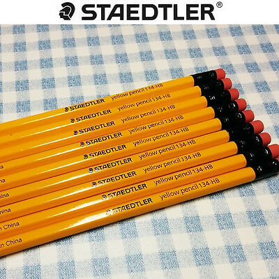 Staedtler Yellow Pencil HB 134 with Eraser Head 12 pcs 1 Dozen