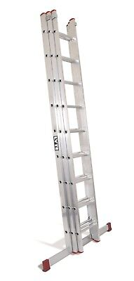 Lyte DIY Aluminium Extension Ladder - 3 Section|3x9 Rung|Max 6.70m Height|BD330