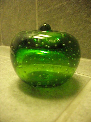"""Green Apples with Bubbles inside Vintage Paperweight 2 1/2"""""""