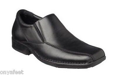 Mens HUSH PUPPIES PRESTIGE Black FORMAL/DRESS/WORK/LEATHER SHOES -EXTRA WIDE FIT