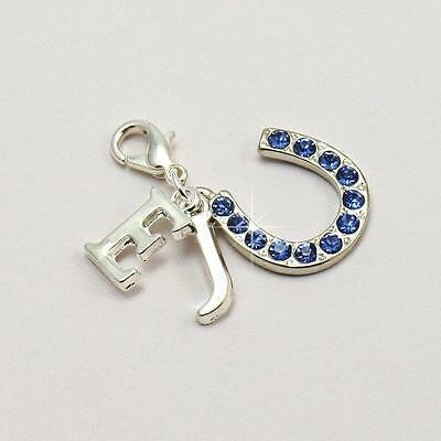 Something Blue Charm with Bride & Groom Initials. Gift for Bride. Blue Horseshoe