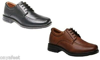 Mens HUSH PUPPIES Rochester Black/ Cognac EXTRA WIDE WORK/LEATHER SHOES - CHEAP
