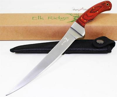 Elk Ridge Hardwood Full Tang Fish Fishing Filet Fillet Camping Hunting Knife